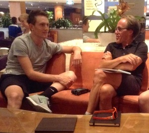 Tim Dalton interviewing Andy Fenn at the TDU 2014.