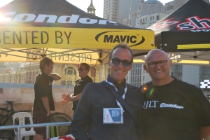 Tim Dalton and John Herety of JTL Condor at the Tour's prologue in Melbourne City Centre.