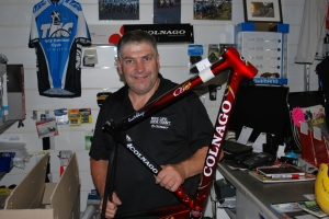 Former Herald Sun Tour winner Terry Hammond at his shop Terry Hammond Cycles with a very cool Colnago C59 frame.