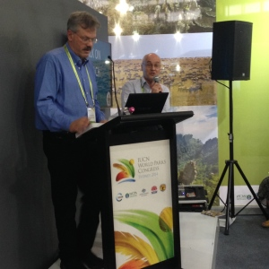 Associate Professor Geoff Wescott (on the right) presenting his Conservation Catalysts Chapter at the 2014 IUCN World Parks Congress in Sydney, Australia.