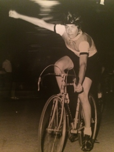 Steve winning a race during his time as a professional cyclist in Continental Europe.