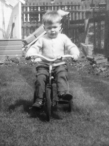 This image captured in 1964, shows Steve out exploring on his first bicycle at the young age of 3 in Hull, UK.