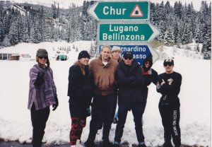 On tour with Primus in Europe. We stopped at the top of the San Bernardino Pass enroute to Italy for a snowball fight.