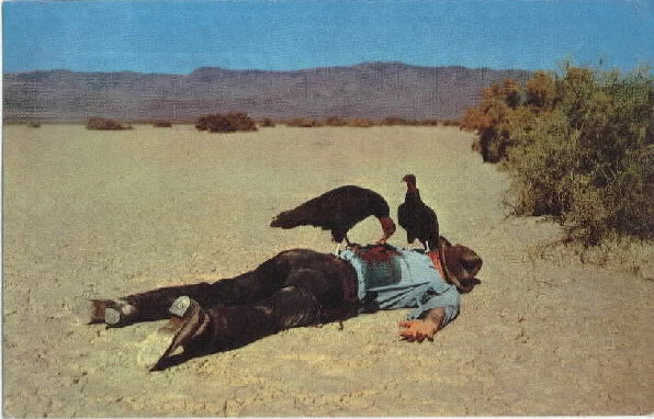 The original postcard titled End of the Trail (1953) by Adrian Atwater depicts the dead cowboy Wallace Irving Robertson.